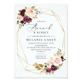 Burgundy Blush Floral Geometric Brunch and Bubbly Invitations