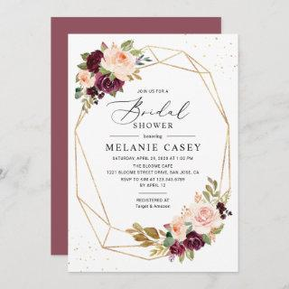 Burgundy Blush Floral Gold Geometric Bridal Shower Invitation