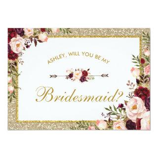 Burgundy Blush Floral Gold Glitter Bridesmaid Card