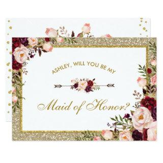 Burgundy Blush Floral Gold Glitter Maid of Honor Invitations