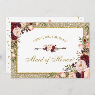 Burgundy Blush Floral Gold Glitter Maid of Honor