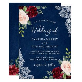 Burgundy Blush Floral Lace Navy Blue Wedding Invitation