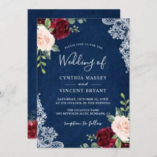 Burgundy Blush Floral Lace Navy Blue Wedding Invitations