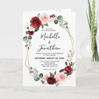 Burgundy Blush Floral Modern Geometric Wedding Invitations