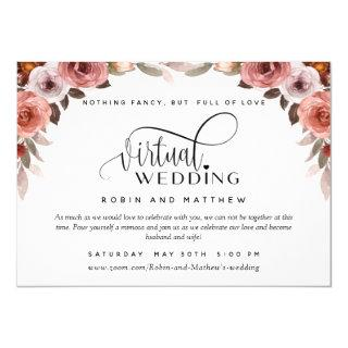 Burgundy Blush Floral, Online Virtual Wedding Invitations
