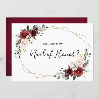 Burgundy Blush Floral Will You Be My Maid of Honor Invitation