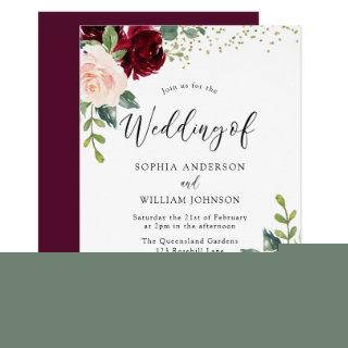 Burgundy & Blush Flowers Glitter Wedding Invitation