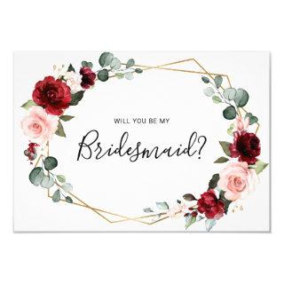 Burgundy Blush Geometric Bridesmaid Proposal card