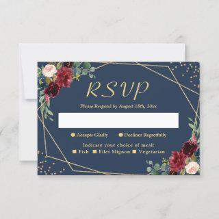 Burgundy Blush Navy Blue Floral Gold Glitters RSVP Card