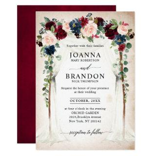 Burgundy Blush Navy Floral Arch Canopy Wedding Invitation