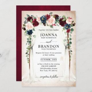 Burgundy Blush Navy Floral Arch Canopy Wedding Invitations