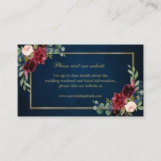 Burgundy Blush Navy Floral Wedding Details Enclosure Card