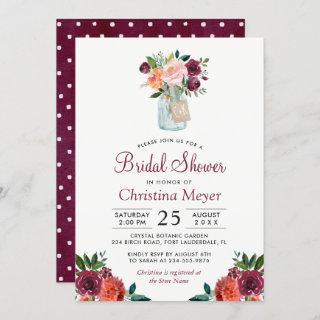 Burgundy Blush Pink Floral Mason Jar Bridal Shower Invitation