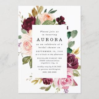 Burgundy Blush Pink Gold Floral Bridal Shower Invitation