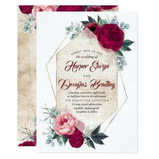Burgundy Blush Pink Gold Floral Geometric Wedding Invitations