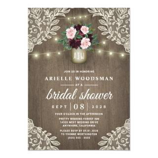 Burgundy Blush Pink Gold Mason Jar Bridal Shower Invitations