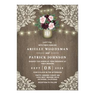 Burgundy Blush Pink Gold Mason Jar Vintage Wedding Invitations