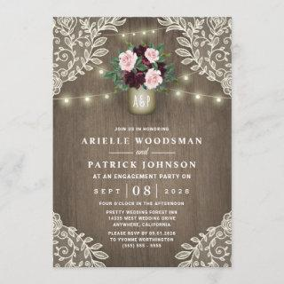 Burgundy Blush Pink Gold Rustic Engagement Party Invitations