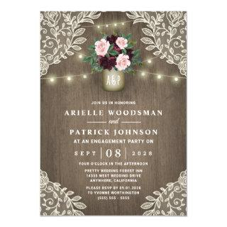 Burgundy Blush Pink Gold Rustic Engagement Party Invitation