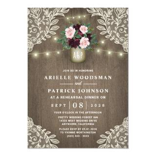 Burgundy Blush Pink Gold Rustic Rehearsal Dinner Invitations