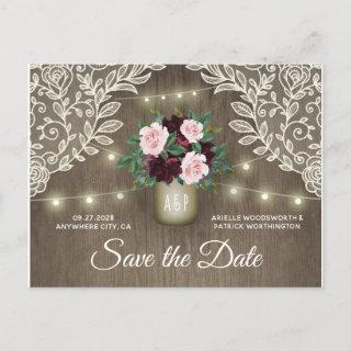 Burgundy Blush Pink Gold Wedding Save the Date Announcement Postcard