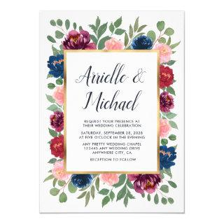 Burgundy Blush Pink Navy Blue Marsala Gold Wedding Invitation