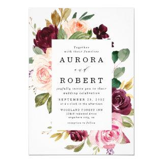 Burgundy Blush Pink Peach Gold Floral Boho Wedding Invitations