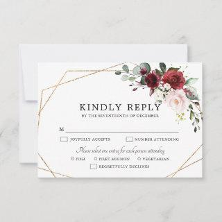 Burgundy Blush Pink Rose Boho Geometric Wedding RSVP Card