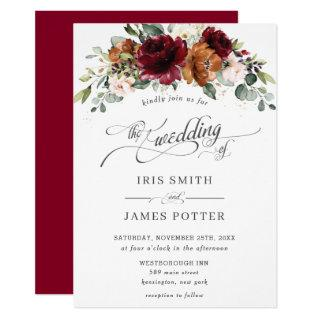Burgundy Burnt Orange Blush Ivory Floral Wedding Invitation