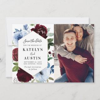 burgundy dusty blue floral save the date card