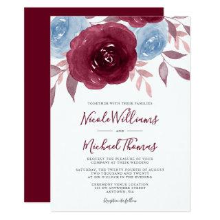 Burgundy Dusty Blue Watercolor Floral Wedding Invitation