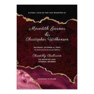Burgundy Elegance Gold Glitter Agate Wedding Invitation