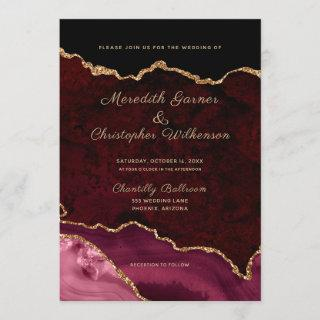 Burgundy Elegance Gold Glitter Agate Wedding Invitations