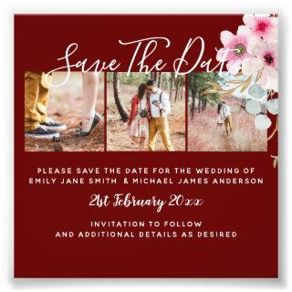 Burgundy Engagement Photo Save the Date BUDGET