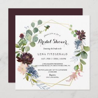 Burgundy Floral and Greenery Bridal Shower