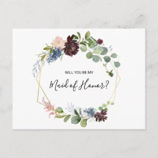 Burgundy Floral and Greenery Maid of Honor Invitation Postcard