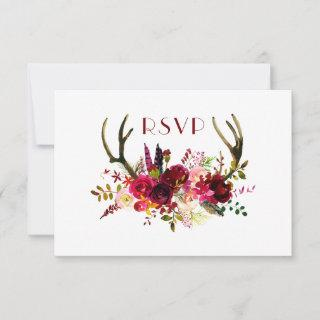 Burgundy Floral Antlers | buffet + guests invited RSVP Card