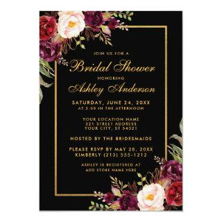 Burgundy Floral Black Gold Bridal Shower Invitations