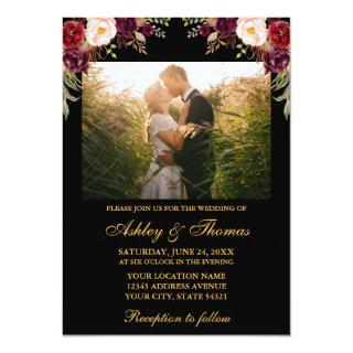 Burgundy Floral Black Gold Wedding Photo Invitations