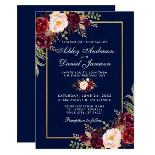 Burgundy Floral Blue Gold Wedding Invitation WB