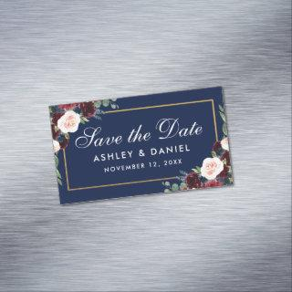Burgundy Floral Blue Save The Date Mini Magnet