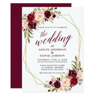 Burgundy Floral Calligraphy Geometric Wedding Invitation