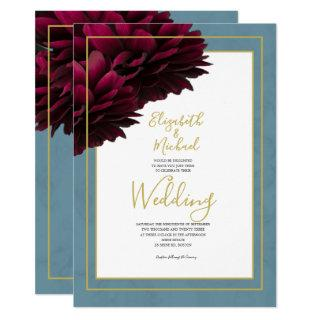 Burgundy Floral Dusty Blue Gold Elegant Wedding Invitation