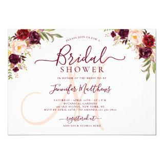 Burgundy Floral Elegant Monogram Bridal Shower Invitations