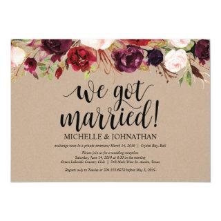 Burgundy Floral Elopement Reception Kraft Invites