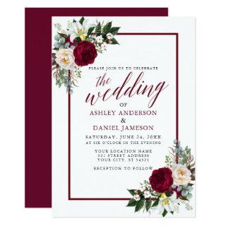 Burgundy Floral Frame Greenery Calligraphy Wedding Invitation