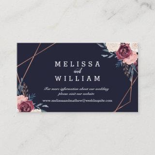 Burgundy Floral Geometric Midnight Blue Wedding Enclosure Card