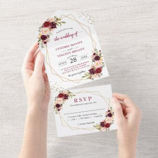 Burgundy Floral Geometric (No ENV needed) Wedding  All In One