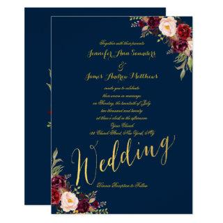 Burgundy Floral Gold Foil Navy Blue Wedding Invite