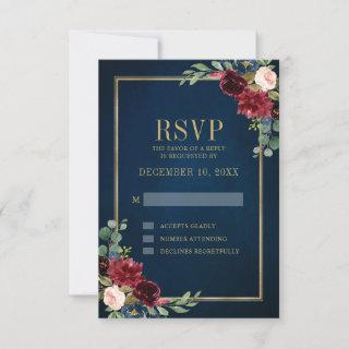 Burgundy Floral Gold Frame Navy Blue Wedding RSVP Card